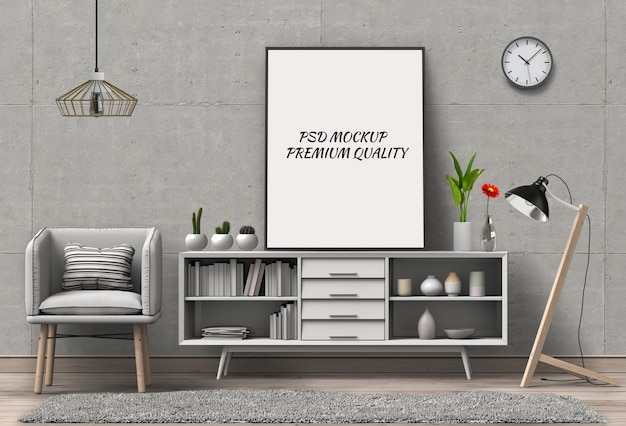 3d render van woonkamer mockup lege poster. Premium Psd