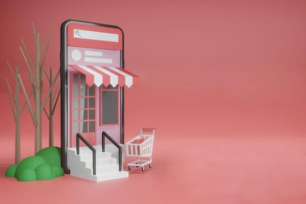 3d-rendering lege ruimte sjabloon online telefoonmodel voor productplaatsing Premium Psd