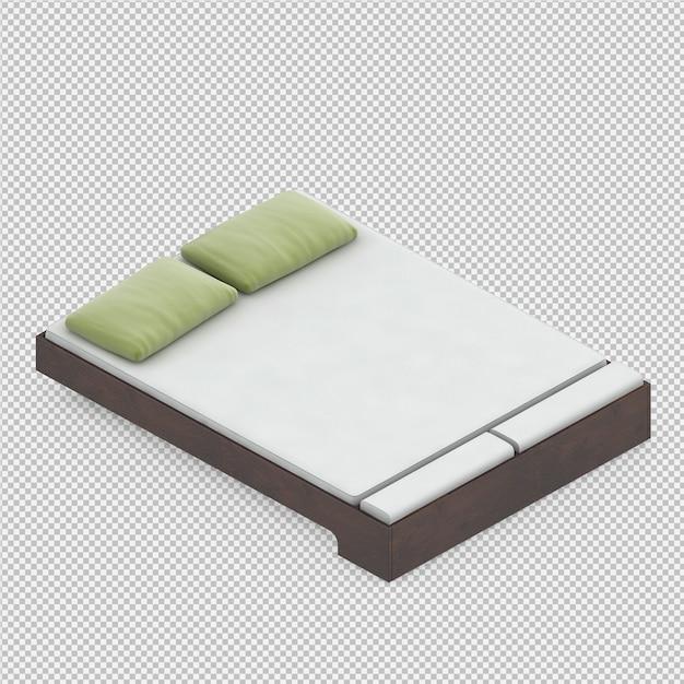 3d rendono del letto isometrico Psd Premium