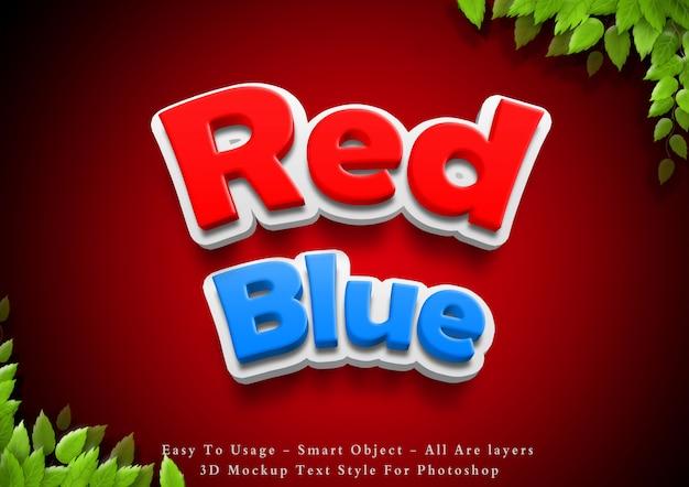 3d-rode en blauwe tekst stijl effect Premium Psd