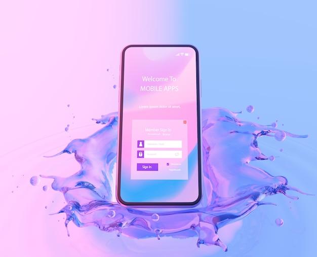 3d-smartphone met water effect Gratis Psd