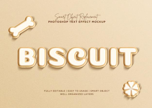 3d-stijl biscuit tekst effect Premium Psd