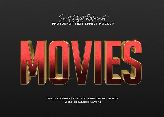 3d-stijl films teksteffect sjabloon Premium Psd