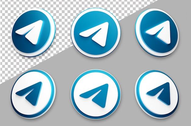 3d-stijl telegram social media logo set Premium Psd