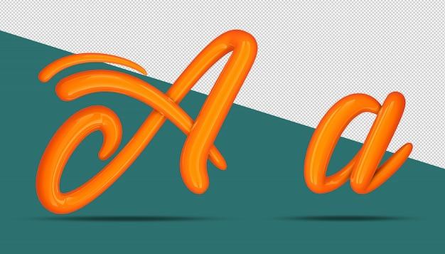 3d-stijl van de alfabetkalligrafie a. Premium Psd