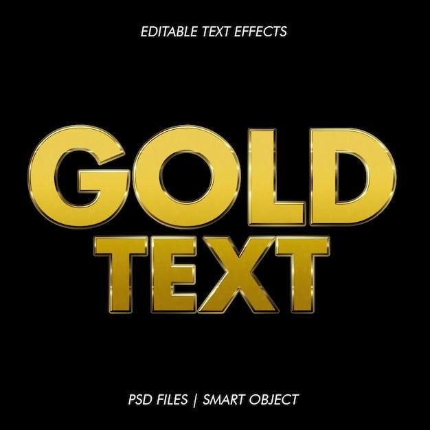 3d-stijl van de mockup gouden tekst Premium Psd