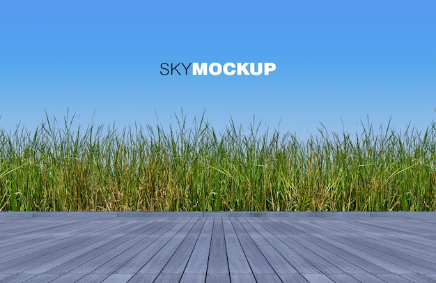 3d teruggevende houten vloer en groene kleuren wilde grassen Premium Psd