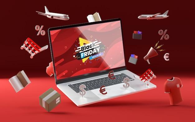 3d verschillende verkoop objecten mock-up rode achtergrond Gratis Psd