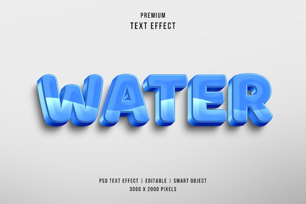 3d-water bewerkbare tekst stijl effect Premium Psd