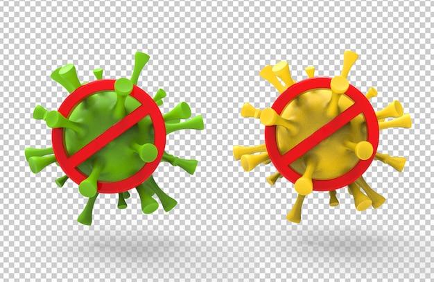3d-weergave van corona-viruswaarschuwing met rode stoptekens Premium Psd