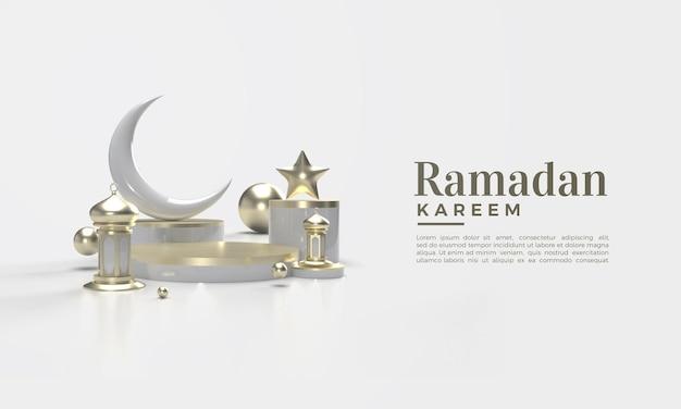 3d-weergave van ramadan kareem in goud op witte achtergrond Premium Psd