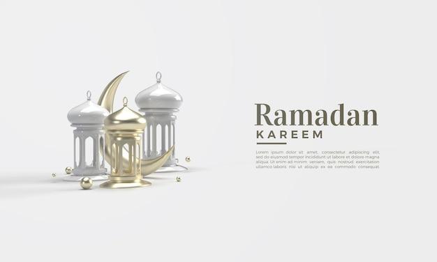 3d-weergave van ramadan kareem met gouden maan en witte lichten Premium Psd
