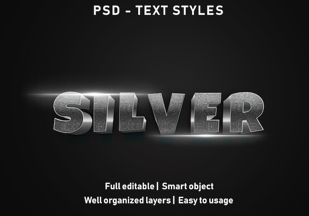 3d-zilveren teksteffecten stijl Premium Psd