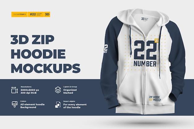 3d zip hoodie-model. ontwerp is gemakkelijk in het aanpassen van afbeeldingen ontwerp hoodie (torso, capuchon, mouw, zak), kleur van alle elementen hoodie, heide textuur Premium Psd