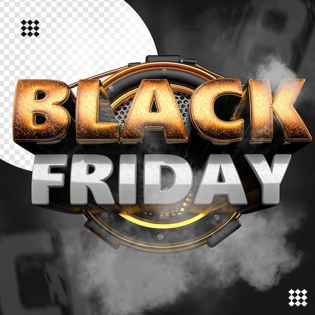 3d zwarte vrijdaglogo met cirkelvormig raster en texturenbasis Premium Psd