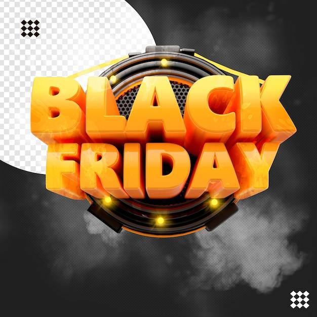 3d zwarte vrijdaglogo met lichtenbasis Premium Psd