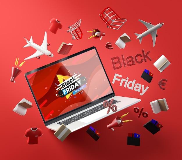 3d zwarte vrijdagtechnologie op rode achtergrond Gratis Psd