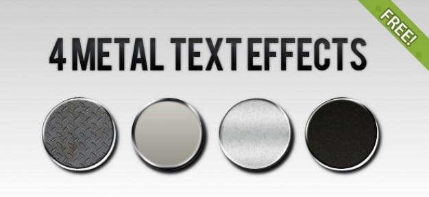 4 free metal estilos de texto efecto PSD gratuito