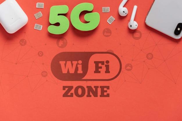 5g wifi-verbinding online mock-up Gratis Psd