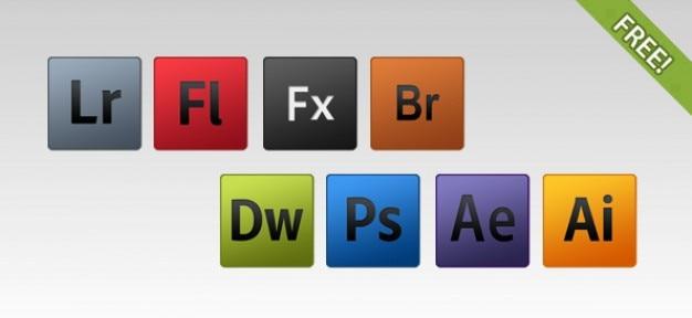 8 gratis adobe-producten pictogrammen Gratis Psd