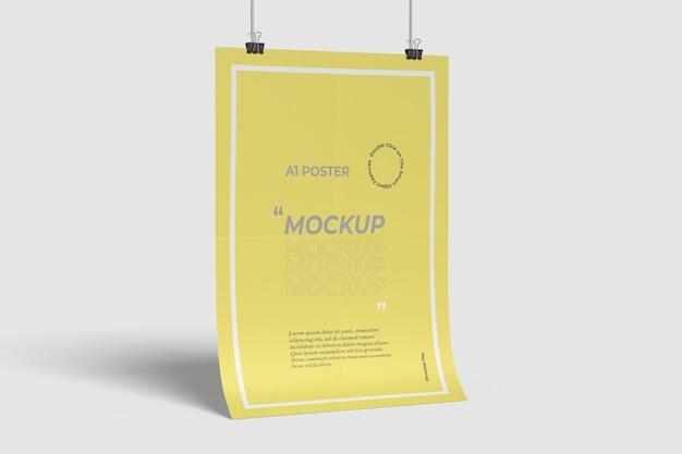 A1 poster mockup zijaanzicht Premium Psd