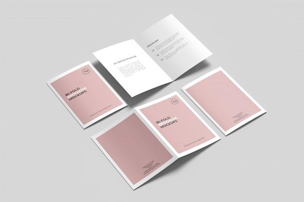 A4 / a5 tweevoudig brochure mockup Premium Psd