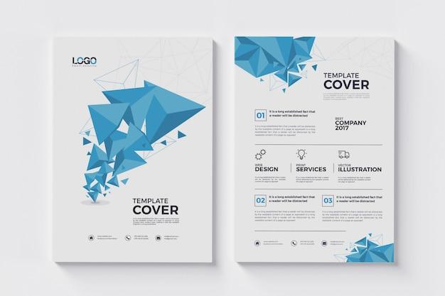 A4 abstracte folder met veelhoekdriehoeken Premium Psd