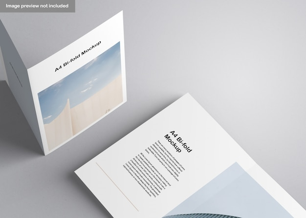 A4 bifold brochure mockup Gratis Psd