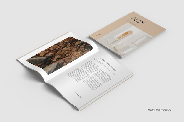 A4 cover and spread magazine mockups Gratis Psd