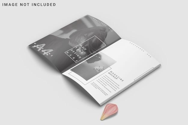 A4-tijdschriftmodel geopend met bloem Premium Psd