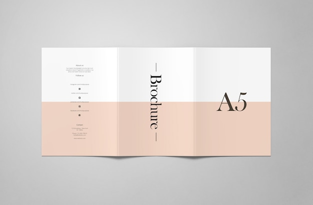 A5 tri-fold mockup Premium Psd
