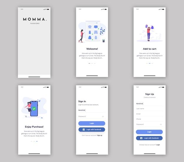 Aankoop-app mobiele app ui kit Premium Psd