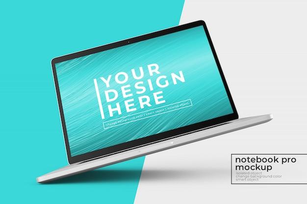 Aanpasbaar premium 15'4-inch laptop pro psd mockupontwerp in links gedraaid en middenweergave Premium Psd