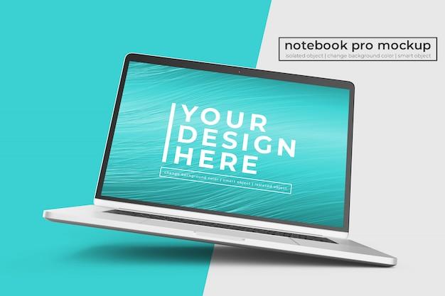 Aanpasbaar premium notebook pro psd-modelontwerp in rechts gedraaide positie in middenweergave Premium Psd