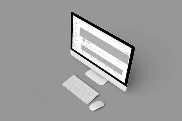 Aanpasbare computermodellen van hoge kwaliteit om youtube-profielsjablonen weer te geven Premium Psd