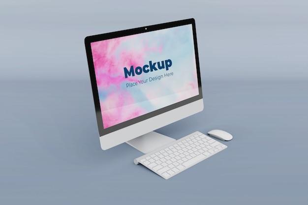 Aanpasbare mockup-ontwerpsjabloon voor desktopscherm Premium Psd