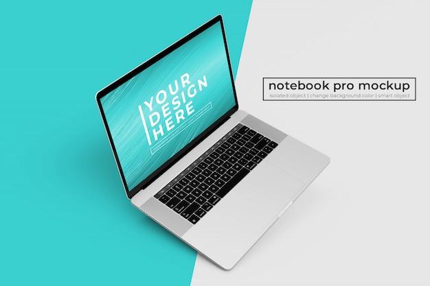 Aanpasbare premium notebook pro psd mockup-ontwerpen in linkerhoekpositie in linkerbovenaanzicht Premium Psd