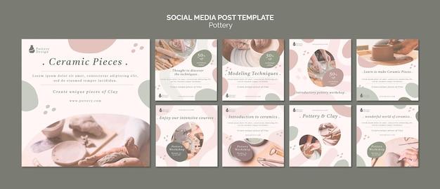 Aardewerk sociale media plaatsen Premium Psd
