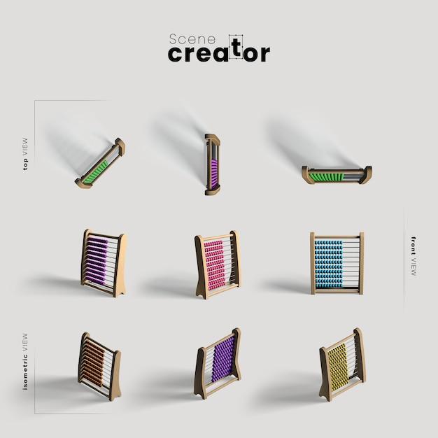 Abaco varie angolazioni per le illustrazioni dei creatori di scene Psd Gratuite
