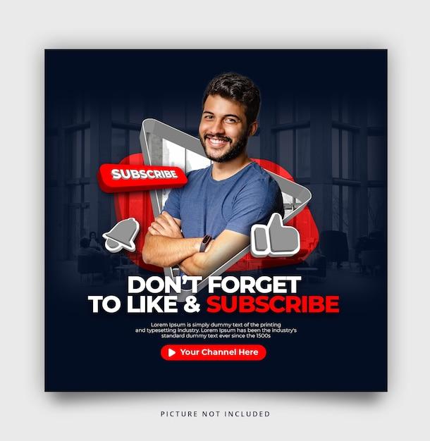 Abonneer je op youtube instagram social media template Premium Psd