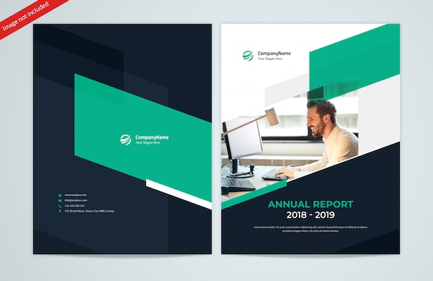 Abstract shapes jaarverslag front- en back covers Premium Psd