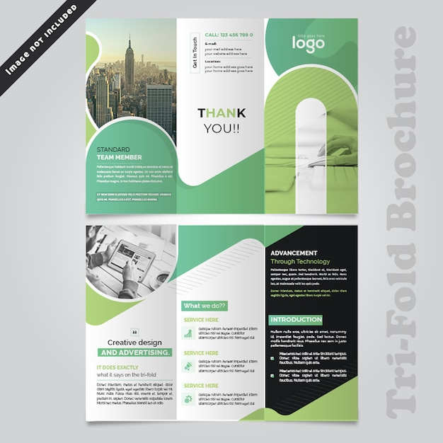 Abstract wave trifold brochureontwerp Premium Psd