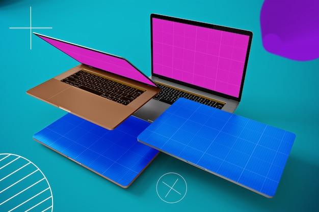 Abstracte drijvende laptop mockup Premium Psd