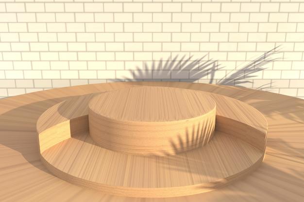 Abstracte houten achtergrondscène voor weergave van productvertoning Premium Psd