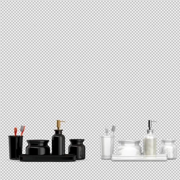 Accesorios de baño isométricos 3d aislados render PSD Premium