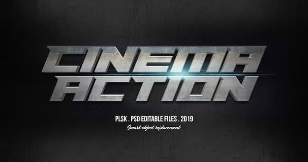 Acción de cine efecto de estilo de texto en 3d con luces PSD Premium