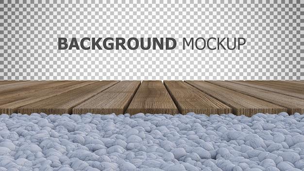 Achtergrond voor 3d-weergave van houten paneel geplaatst op witte rotstuin Premium Psd