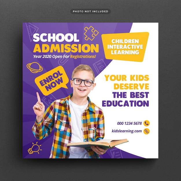 Admisión a la educación escolar publicación en redes sociales y banner web PSD Premium
