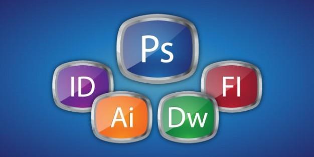 Adobe software design knoppen Gratis Psd