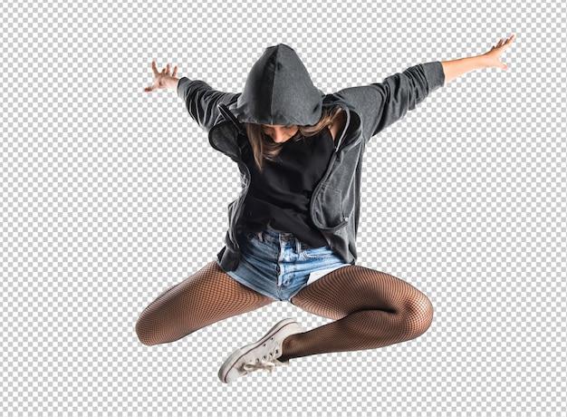 Adolescente bailarina de hip-hop saltar PSD Premium